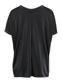 Černé metalické oversized tričko s véčkovým výstřihem Ulla Popken