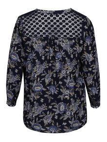 Bluza bleumarin cu print floral si guler tunica  M&Co