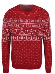 Červený svetr s vánočními motivy Jack & Jones Originals Stag Knit