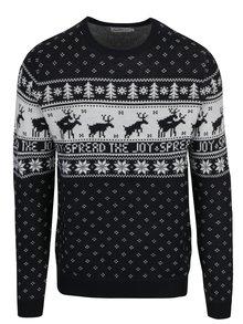 Pulover negru&alb cu motiv norvegian Jack & Jones Originals Stag Knit
