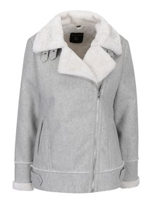 Šedá zimní bunda s asymetrickým zipem a umělou kožešinou Dorothy Perkins