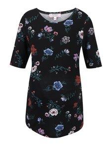 Bluza neagra cu print floral si maneci midi - Dorothy Perkins Maternity