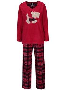 Pijama roz inchis din fleece in carouri cu broderie M&Co