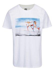 Tricou alb cu print ski Dedicated Stockholm Double Daffy