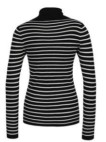 Bluza tricotata alb & negru cu model in dungi si guler inalt - Haily´s Ida