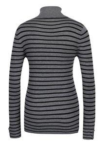 Bluza gri & negru  cu model in dungi si guler inalt - Haily´s Ida