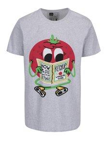 Tricou gri cu print haios Dedicated Stockholm Ketchup Guide