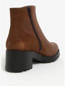 Hnedé dámske členkové kožené topánky na podpätku Camper Lucy