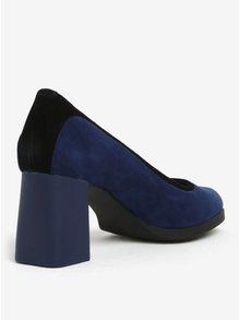 Černo-modré semišové lodičky na podpatku Camper Lucy