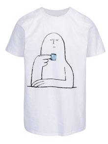 Tricou alb cu print Dedicated Stockholm Coffee Break