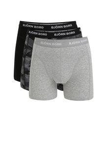 Set de 3 perechi de boxeri negru & gri cu print - Björn Borg
