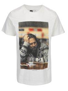Tricou alb cu print Dedicated Stockholm The Dude