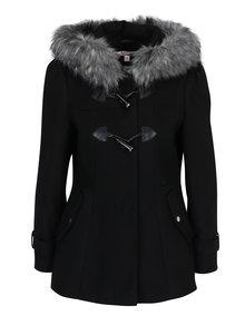 Čierny kabát s kapucňou Miss Selfridge Petites