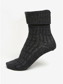 Tmavě šedé dámské vlněné ponožky s jemným vzorem mp Denmark Beatrix