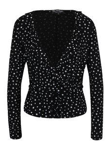 Bluza neagra cu decolteu amplu si suprapus cu print - Miss Selfridge