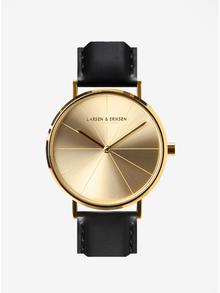 Ceas unisex auriu cu curea maro din piele naturala - LARSEN & ERIKSEN  37 mm