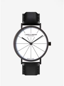 Čierne unisex hodinky s koženým remienkom LARSEN & ERIKSEN 37 mm