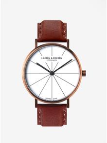 Unisex hodinky v měděné barvě s hnědým koženým páskem LARSEN & ERIKSEN  37 mm