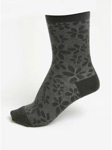 Tmavozelené dámske kvetované vlnené ponožky mp Denmark Ghita