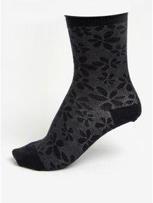 Tmavomodré dámske kvetované vlnené ponožky mp Denmark Ghita