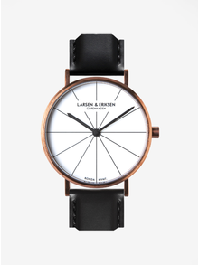 Unisex hodinky v medenej farbe s čiernym koženým remienkom LARSEN & ERIKSEN  37 mm