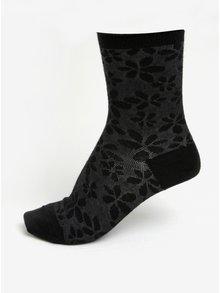 Čierne dámske kvetované vlnené ponožky mp Denmark Ghita