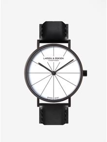 Čierne unisex hodinky s čiernym koženým remienkom LARSEN & ERIKSEN 41 mm