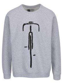 Světle šedá mikina s potiskem Dedicated Malmoe Bike