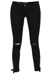 Černé džíny s potrhaným efektem a šněrováním na nohavicích TALLY WEiJL