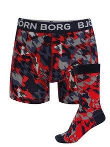 Červeno-modrý set boxerek a ponožek Björn Borg