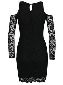 Černé krajkové šaty s průstřihy na ramenou TALLY WEiJL
