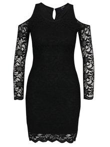 Čierne čipkované šaty s prestrihmi na ramenách TALLY WEiJL