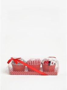 Sada tří párů vzorovaných ponožek v červeno-krémové barvě Dorothy Perkins