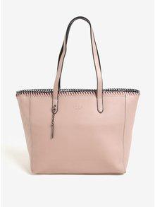 Růžová velká kabelka s kovovou aplikací LYDC