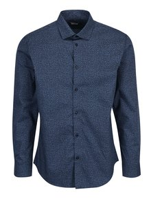 Camasa slim fit albastra din bumbac cu print discret - Selected Homme One New