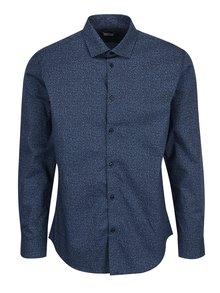 Tmavě modrá vzorovaná formální slim fit košile Selected Homme One New