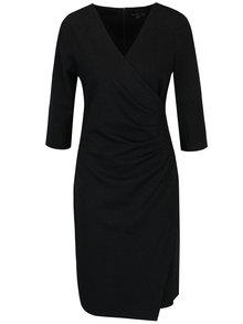 Černé šaty s překládaným výstřihem a řasením na boku Smashed Lemon