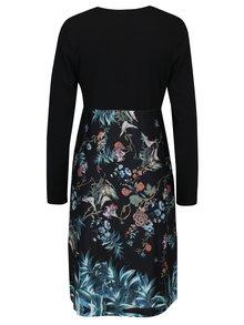 Černé květované šaty s překládaným výstřihem Smashed Lemon