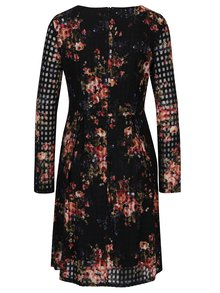 Čierne kvetované šaty s dlhým rukávom Smashed Lemon