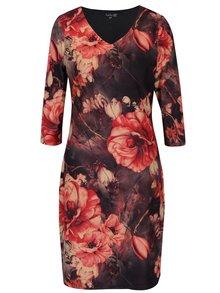 Sivo-červené kvetované šaty s véčkovým výstrihom Smashed Lemon