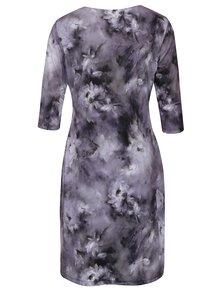 Sivé kvetované šaty s 3/4 rukávom Smashed Lemon