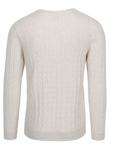 Pulover bej din bumbac organic cu torsade - Selected Homme Clayton