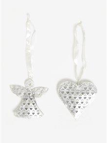 Set závěsných ozdob ve stříbrné barvě ve tvaru srdce a anděla Kaemingk