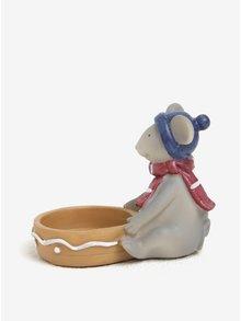Svietnik v tvare sediacej myšky s modrou čiapkou Kaemingk