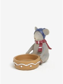 Svícen ve tvaru sedící myšky s modrou čepicí Kaemingk