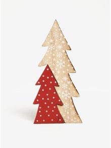 Červeno-hnedá vianočná dekorácia v tvare stromčeka Kaemingk