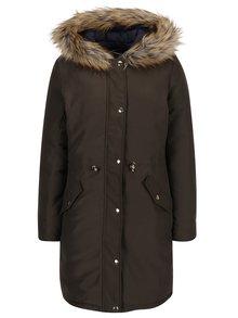 Kaki obojstranný kabát s kapucňou s kožúškom Dorothy Perkins