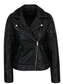 Jacheta biker neagra cu detalii metalice din piele sintetica Dorothy Perkins
