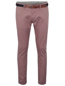 Pantaloni chino rosii slim fit cu curea - Selected Homme Yard