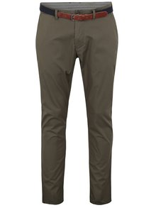 Pantaloni chino kaki slim fit cu curea - Selected Homme Yard